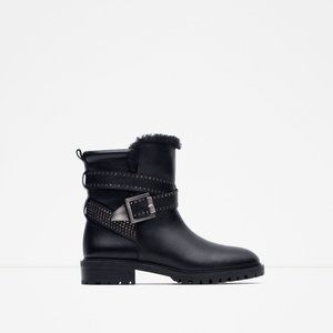Zara leather biker leather and metal boots